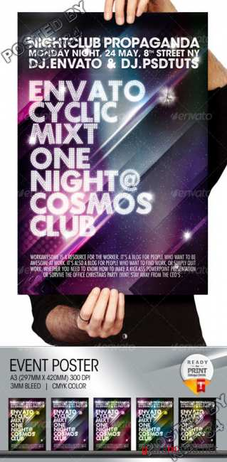 Graphicriver Cosmos Summer Party Nightclub Poster Flayer 102722