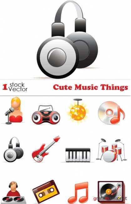 Cute Music Things Vector