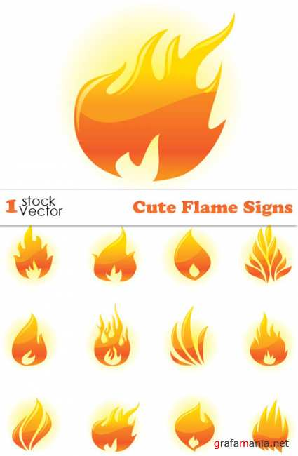 Cute Flame Signs Vector