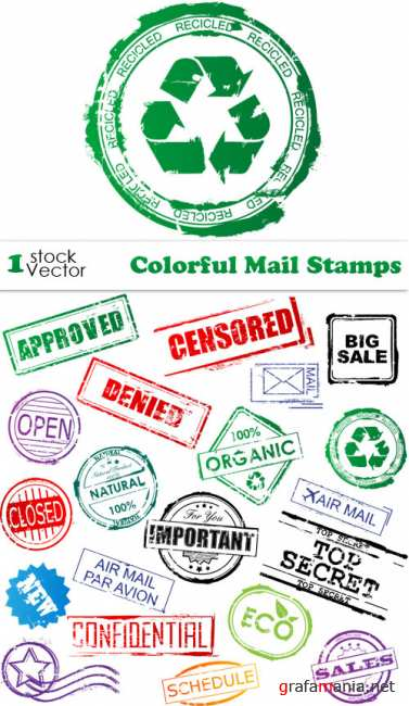 Colorful Mail Stamps Vector