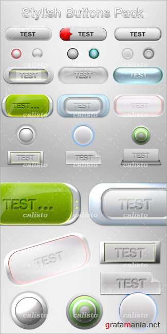 Stylish Buttons  PSD Template