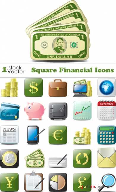 Square Financial Icons Vector