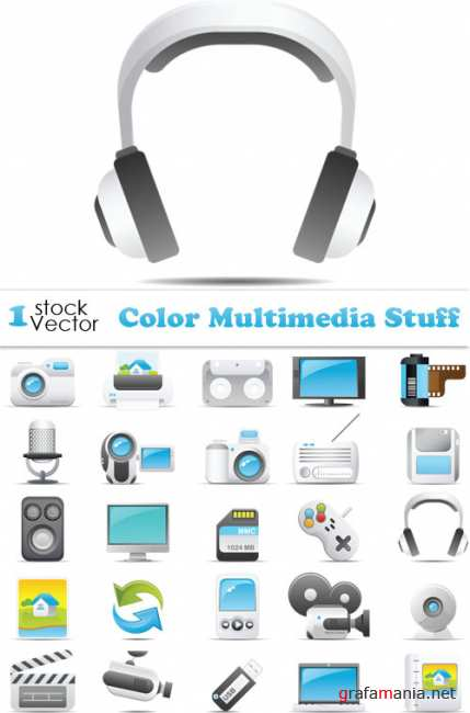 Color Multimedia Stuff Vector