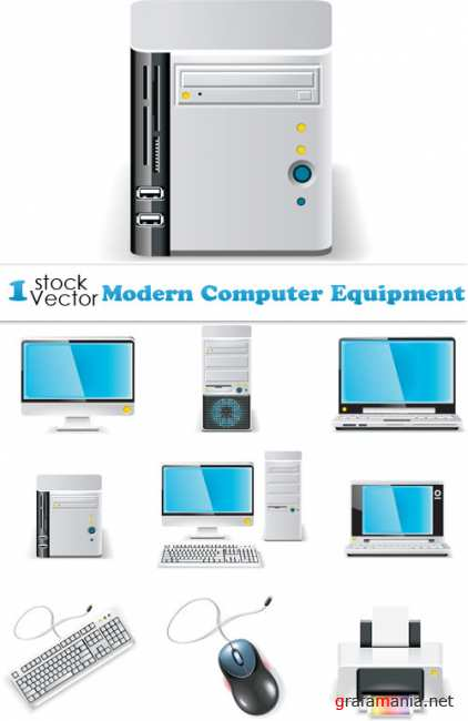 Modern Computer Equipment Vector