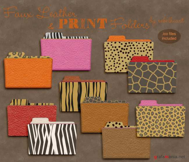 Fauxleather + Animalprint Folder Icons