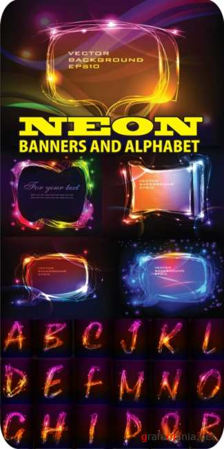 Vector Neon banners and alphabet