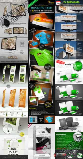 Graphicriver Stand Display sleek stationary magazine mockups