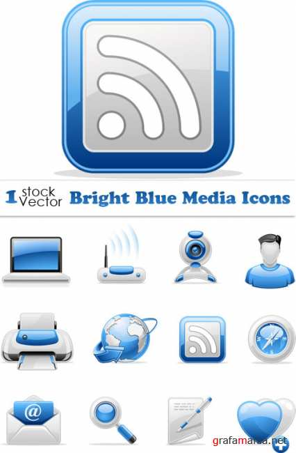 Bright Blue Media Icons Vector