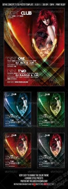 Graphicriver Gothic night club party concert flyer 253117