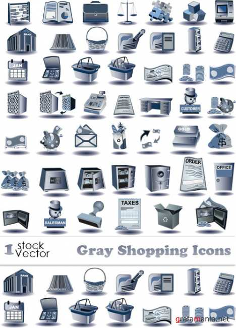 Gray Shopping Icons Vector