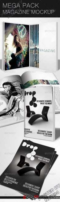 Graphicriver mega pack magazine mockup 46486