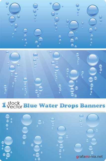Blue Water Drops Banners Vector