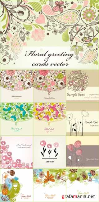 Vector Floral Greeting Cards