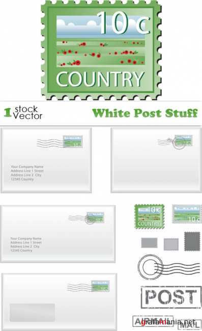 White Post Stuff Vector