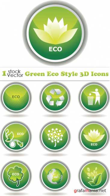 Green Eco Style 3D Icons Vector
