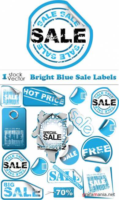 Bright Blue Sale Labels Vector