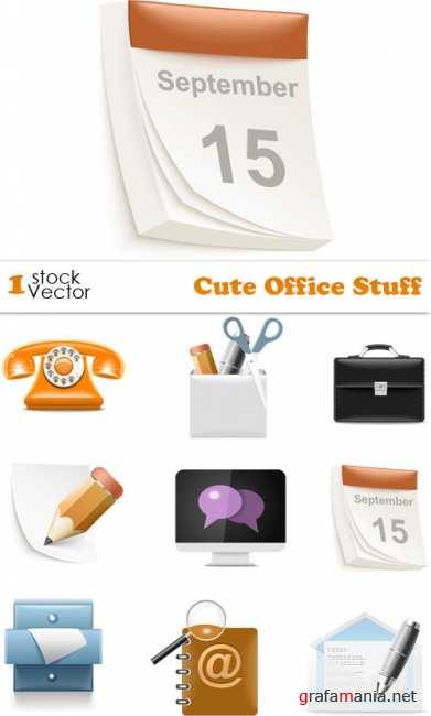 Cute Office Stuff Vector