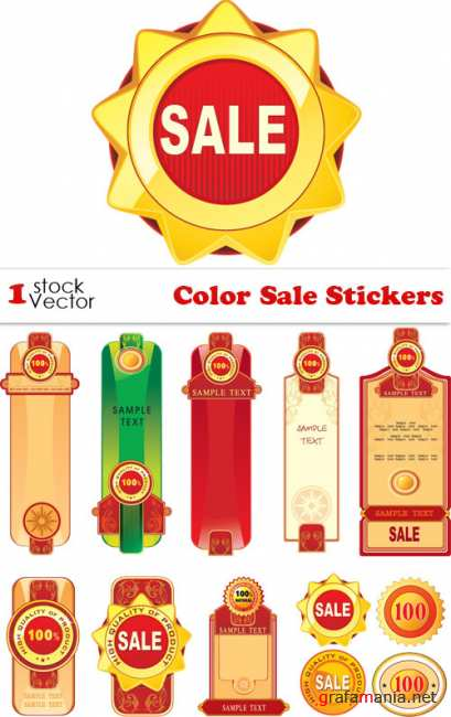 Color Sale Stickers Vector