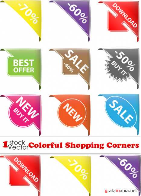 Colorful Shopping Corners Vector
