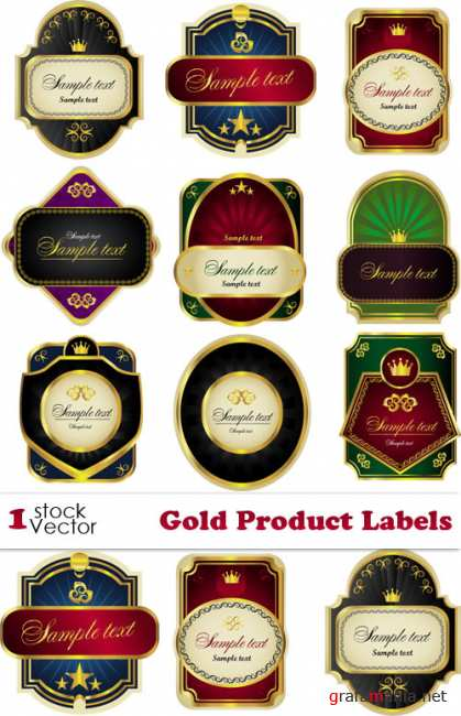 Gold Product Labels Vector
