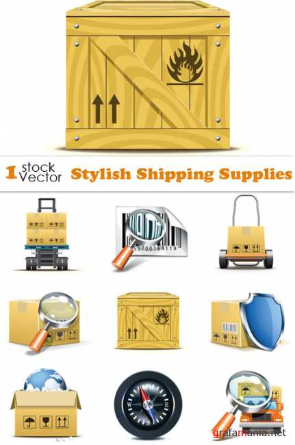 Stylish Shipping Supplies Vector