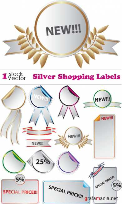 Silver Shopping Labels Vector