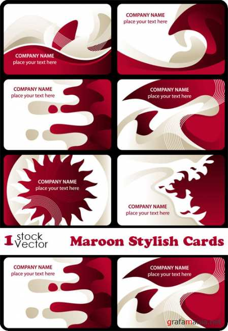 Maroon Stylish Cards Vector