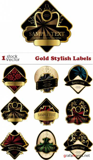 Gold Stylish Labels Vector