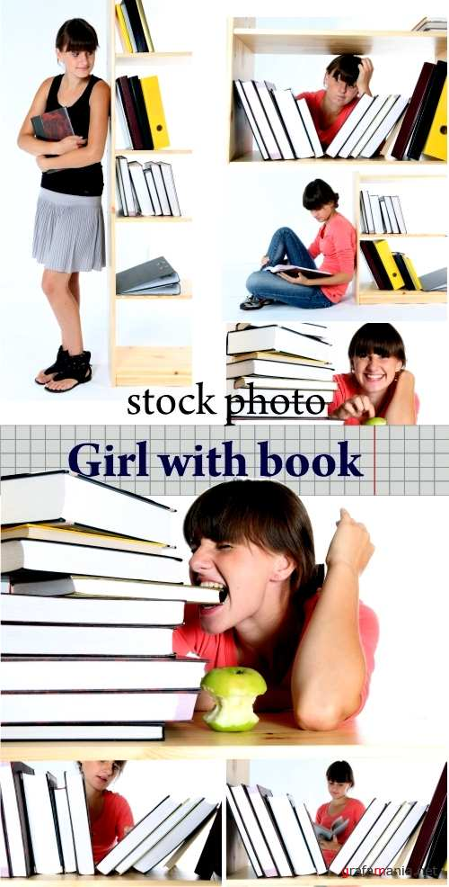 Stock photo - Girl  with book