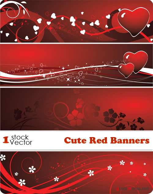 Cute Red Banners Vector
