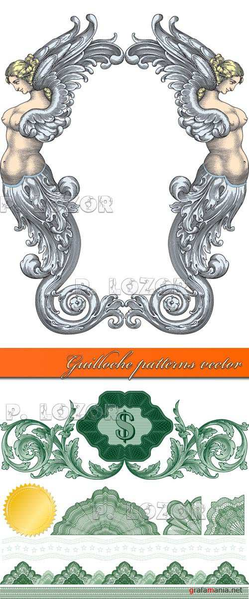 Guilloche patterns vector