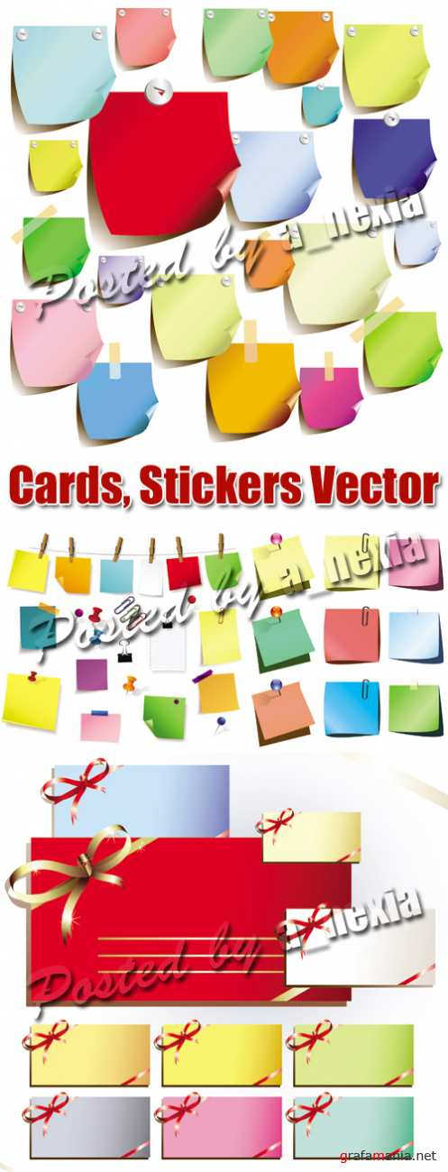 Cards, Stickers, Memo Notes Vector