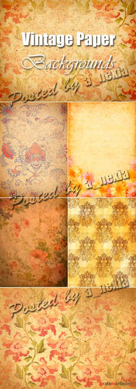 Vintage Paper Backgrounds with Flowers
