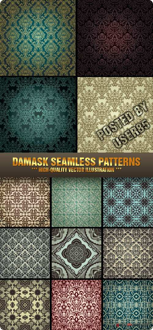 Stock Vector - Damask Seamless Patterns