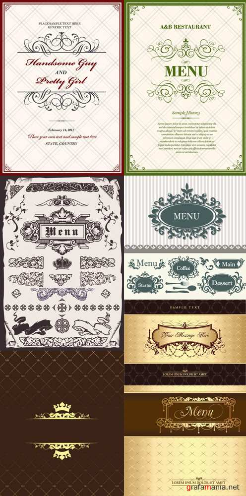 Vintage menu backgrounds