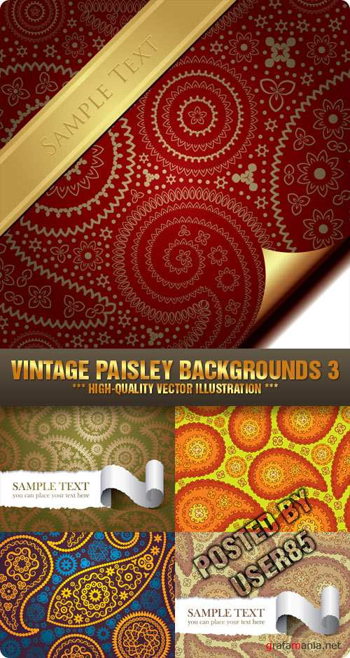 Stock Vector - Vintage Paisley Backgrounds 3
