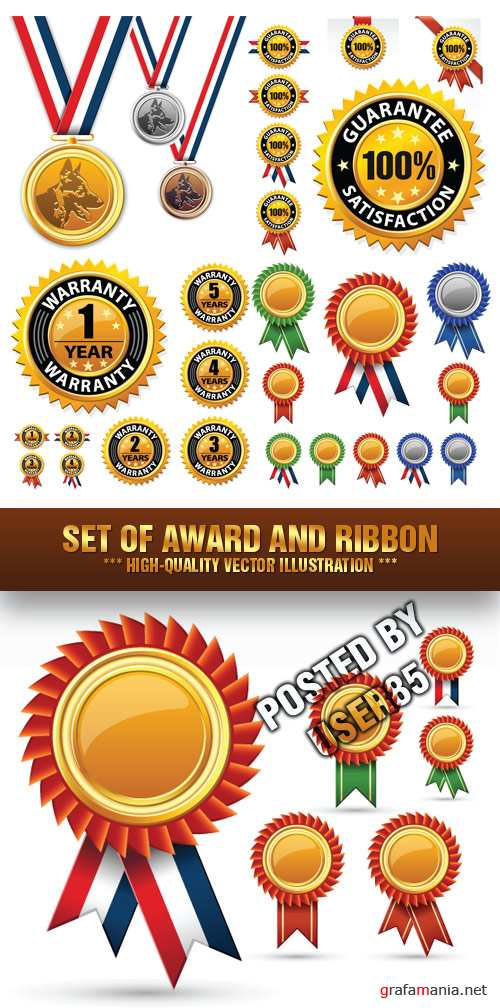 Stock Vector - Set of Award and Ribbon