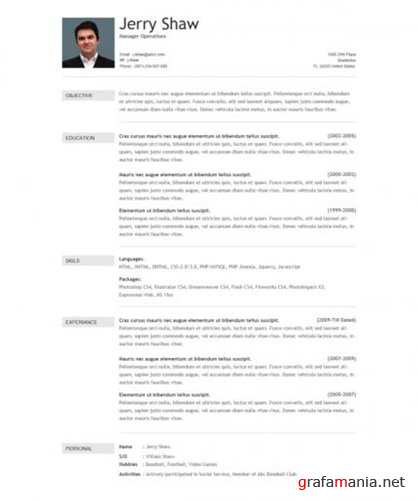 TemplateWorld - Jerry Shaw Resume Template - RiP