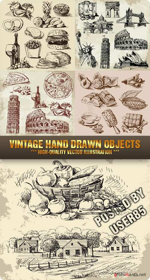 Stock Vector - Vintage Hand Drawn Objects