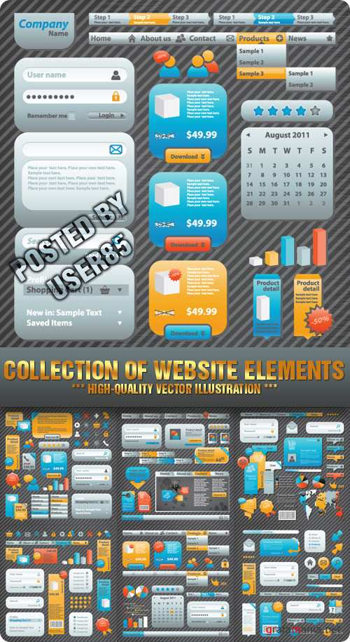 Stock Vector - Collection of Website Elements