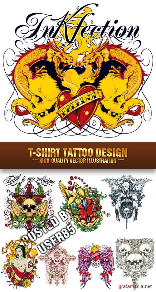 Stock Vector - T-Shirt Tattoo Design