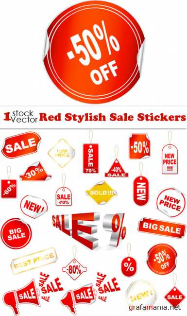 Red Stylish Sale Stickers Vector