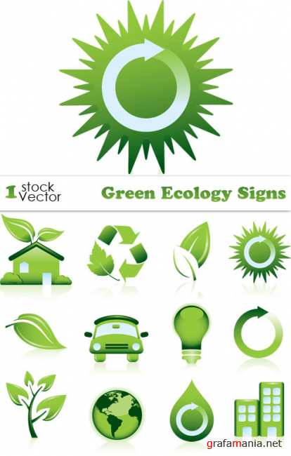 Green Ecology Signs Vector
