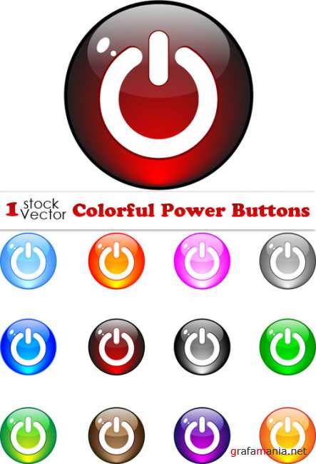 Colorful Power Buttons Vector
