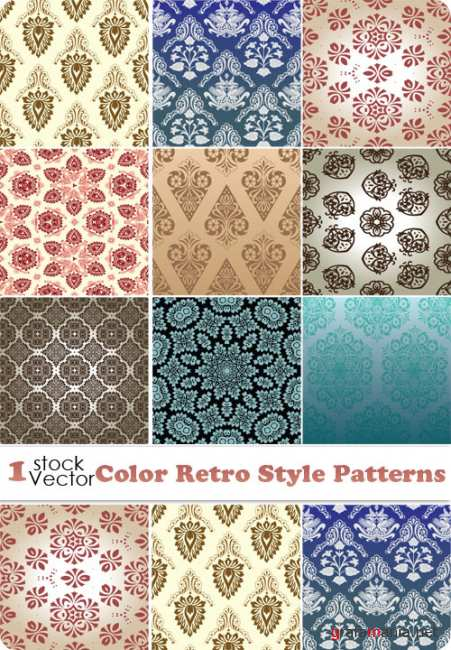 Color Retro Style Patterns Ve�tor