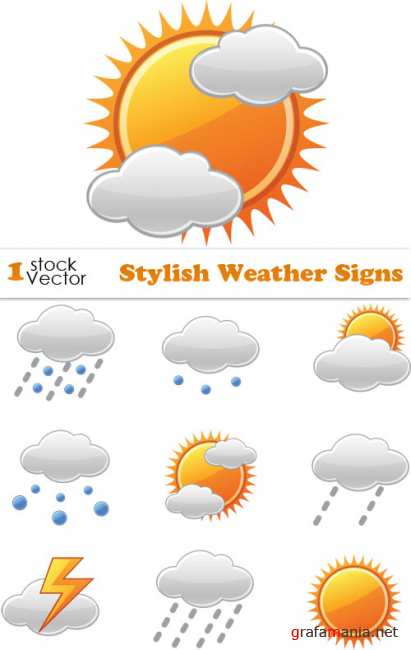 Stylish Weather Signs Vector