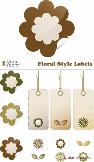 Floral Style Labels Vector
