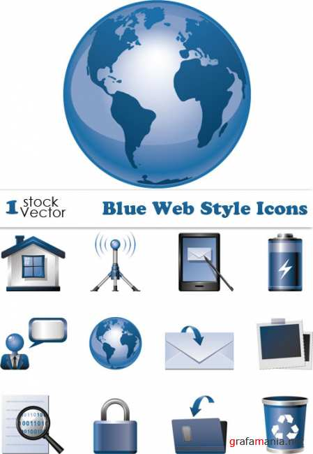 Blue Web Style Icons Vector