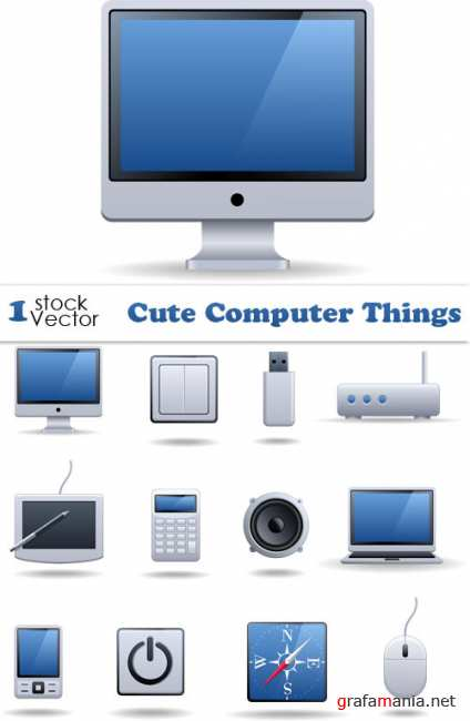 Cute Computer Things Vector