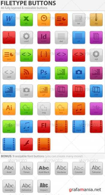 GraphicRiver - Resizable Filetype Buttons